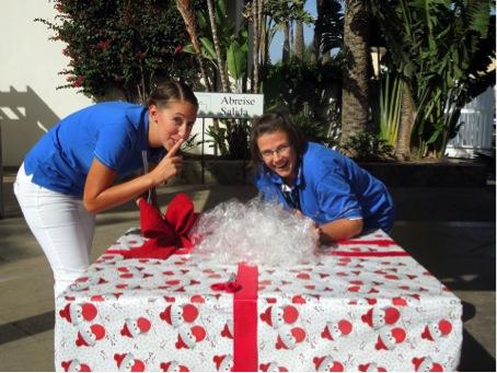 Überraschung - was wohl in diesem großen Weihnachtsgeschenk steckt?