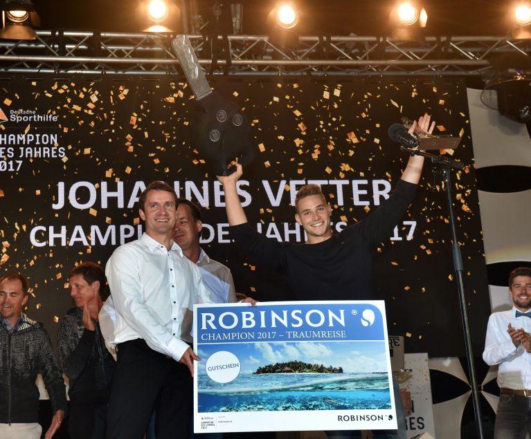 Der Speerwerfer Johannes Vetter wird im ROBINSON Club Apulia zum Champion des Jahres 2017gekürt. Foto: picture alliance für Sporthilfe