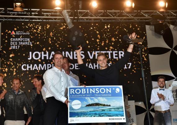 Preisverleihung Champion des Jahres 2017 an Johannes Vetter
