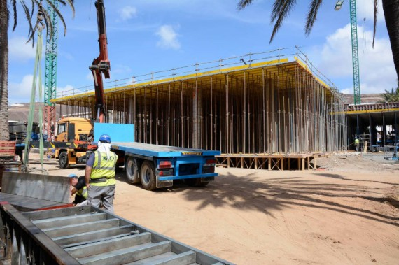 Gerüstkonstruktion Baustelle Jandia Playa Fuerteventura