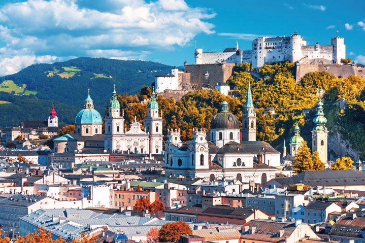Blick auf Salzburg, Österreich
