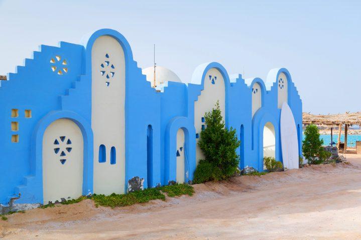 Blaue Häuser in Hurghada