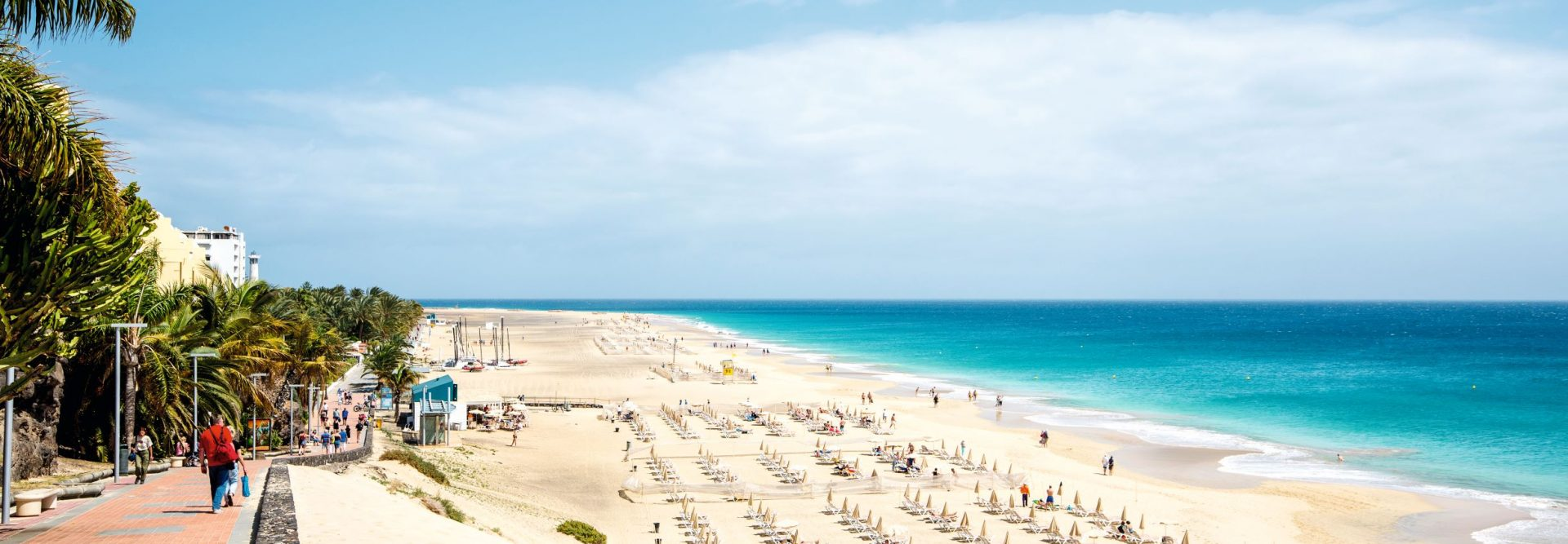 Blick auf den Strand und das Meer vom Jandia Playa in Fuerteventura, Spanien