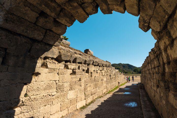 Ausgrabungsstätte von Olympia, Eingang zum Stadion, Griechenland