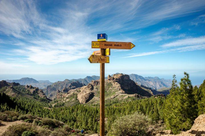 Blick auf den Roque Nublo auf Gran Canaria, Kanarische Inseln