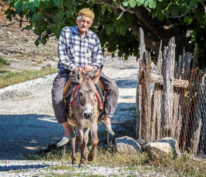 Mann reitet auf Esel in der Türkei