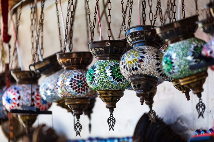 orientalische, bunte Glaslampen
