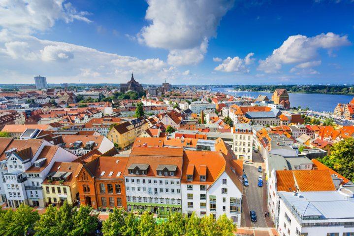 Blick auf Rostock, Mecklenburg-Vorpommern, Deutschland