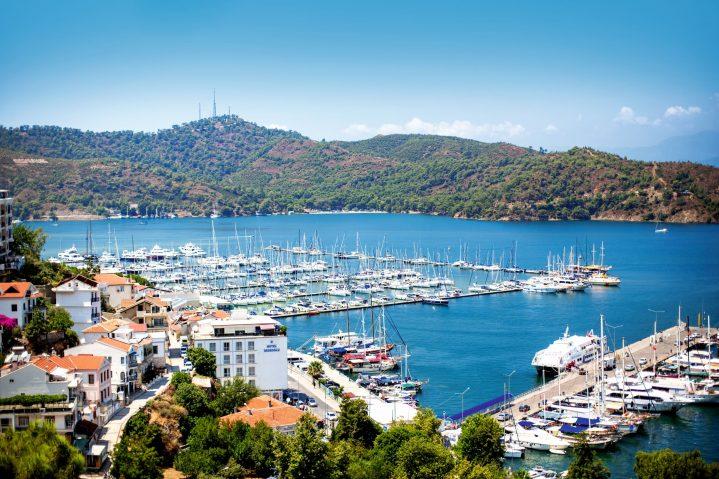 Blick auf den Hafen von Fethiye, Türkei