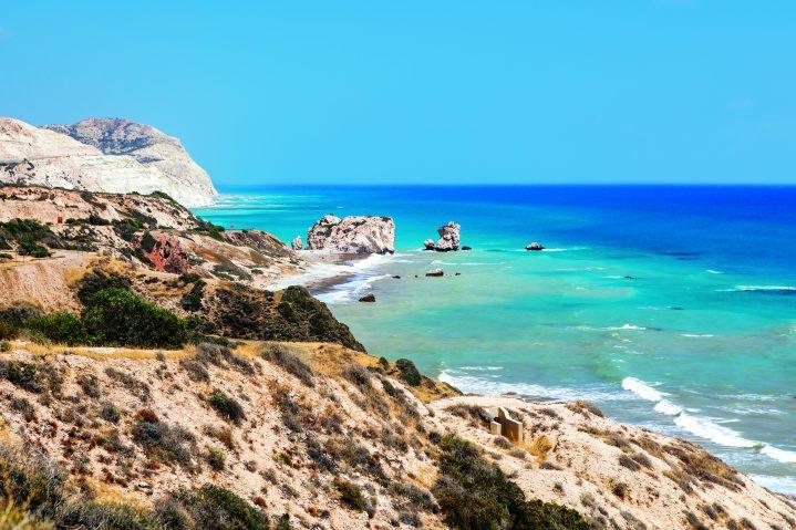 Der Aphrodite's Rock und der Aphrodite's Beach auf Zypern