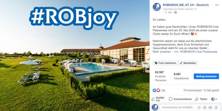 Facebookbeitrag ROBINSON Club Fleesensee Wiedereröffnung nach Corona