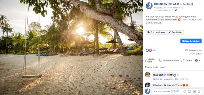 Schaukel am Strand im ROBINSON Club Khao Lak