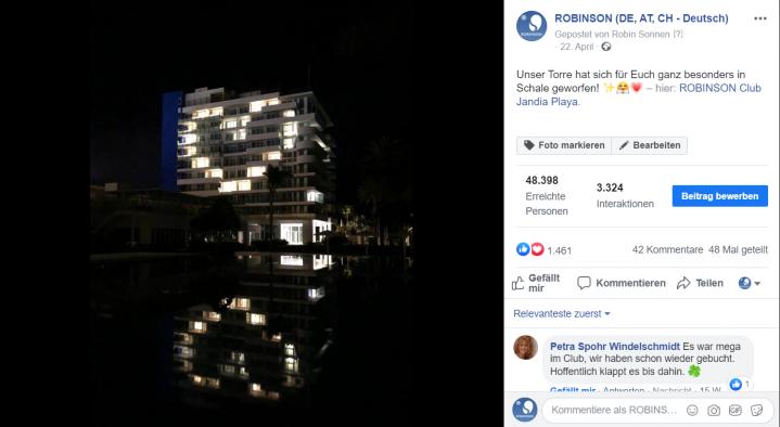 Lichtinstallation Herz im ROBINSON Club Jandia Playa